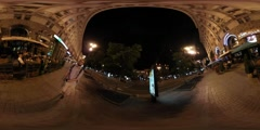 360Vr Video Man Filming People at Night Kiev City Day Illuminated Old Buildings - stock footage