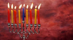 Chanukah candles all in a row. Bright, shiny multicolor candles for the Jewish Stock Footage