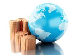 3d Globe with coins. Global money concept. - stock illustration