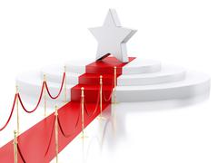 3d A star in the top of a podium with red carpet. Success concept. - stock illustration