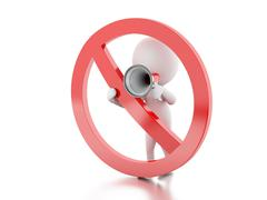 3d White people with megaphone surrounded by a forbidden sign. - stock illustration