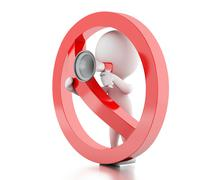 3d White people with megaphone surrounded by a forbidden sign. Stock Illustration