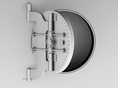 3d Metallic bank vault door open. Stock Illustration