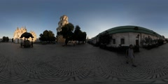 360Vr Video Man Near Bell Tower Piece of Old Wall Cobblestone Kyiv Pechersk Stock Footage