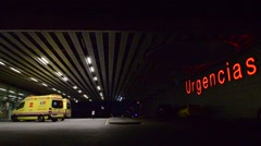 Emergency Ambulance Entrance To Hospital At Night Stock Footage