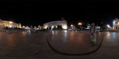 360Vr Video People at Night Kiev Square City Day Maidan Nezalezhnosti Stock Footage