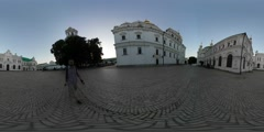 360Vr Video Man Walking Toward Refectory Church Kiev Old Cobblestone Square Stock Footage