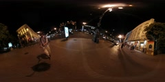 360Vr Video Man Filming Night Summer Kiev City Day Square Illuminated Old Stock Footage