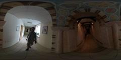 360Vr Video Man Taking Video Restoration Temple of Archangel Gabriel Kiev Stock Footage