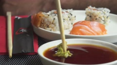 Mixing Wasabi with Soy Sauce, Asian Restaurant Stock Footage