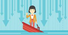 Business woman standing in sinking boat - stock illustration