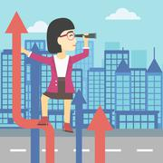 Businessman woman with spyglass on rising arrow - stock illustration