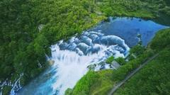 Waterfall flow aerial shot Stock Footage