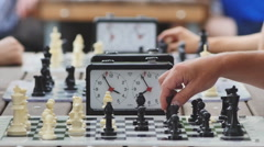 Chess tournament in the Park on a summer day Stock Footage