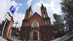 The Catholic Cathedral and Organ Hall in Krasnoyarsk Stock Footage