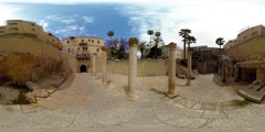 360VR video of old corinthian columns at the Roman Cardo Maximus ruins Stock Footage