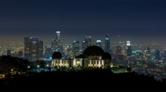 Downtown Los Angeles Skyline and Griffith Observatory Night Timelapse Stock Footage