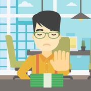 Man refusing bribe vector illustration Stock Illustration