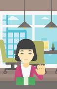 Woman refusing bribe vector illustration Stock Illustration
