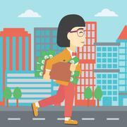 Woman with suitcase full of money Stock Illustration