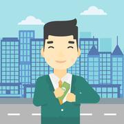 Man putting money in pocket vector illustration - stock illustration