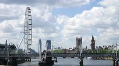 Time lapse of London Eye , Big Ben and Westminster Abbey in London, UK Stock Footage