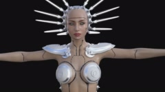 girl-doll, cyborg, alien, animation ,transparent background - stock footage