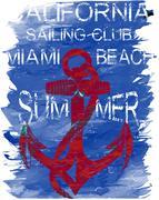 California surf club tee graphic design Piirros
