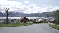 Norway view with flag Stock Footage