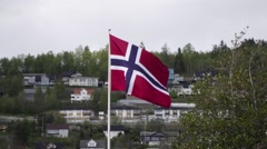 Norwegian flag zoom out Stock Footage