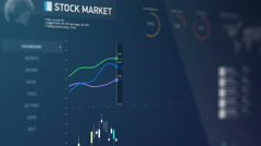Stock and share market reports, live statistics, gaining and losing companies Stock Footage
