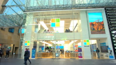 4k moving shot of Microsoft Store Stock Footage