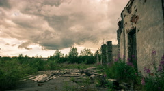 Gloomy sky over the remains of destroyed buildings Stock Footage