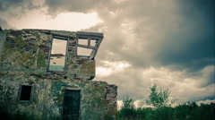 The ruins of the control tower of the military airfield.Time lapse footage Stock Footage