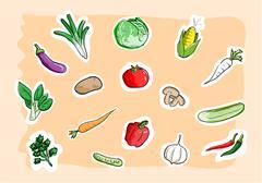 Vegetable Set Icons Stock Illustration