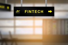 FINTECH or financial technology on airport sign board Stock Illustration