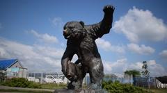 Monument BEAR - Millennium Park Yaroslavl Russia -  entirely askance Stock Footage