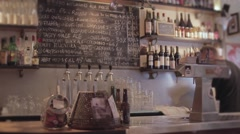 Bar Counter And Drinks Stock Footage