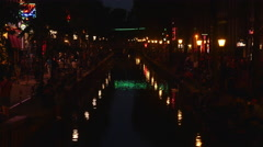 Canal in Red Light district Amsterdam, night. Stock Footage