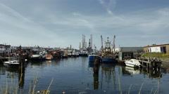 Fishing boats at wharf IJmuiden, Holland Stock Footage