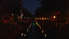 Canal in Red Light district Amsterdam at night. Stock Footage
