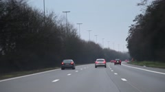 POV of Car Driving In A Highway In Europe in daylight,. Stock Footage