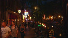 People walking in the Red Light district, Amsterdam Stock Footage