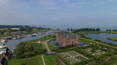 Castle by the sea in Muiden, Holland. Stock Footage