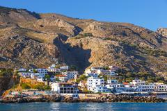 Small town Chora Sfakion, south of Crete, Greece Stock Photos