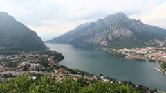 Lake Como and Lecco city, Italy Stock Footage