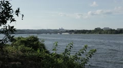 The Potomac River between VA and DC Stock Footage