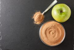 crushed apple fiber, apple green - stock photo