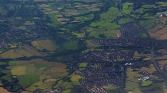 Flying over English countryside aerial shot Stock Footage