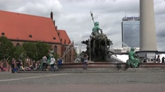 The Neptune Fountain in Berlin was built in 1891 circa 20th July 2016 Stock Footage
